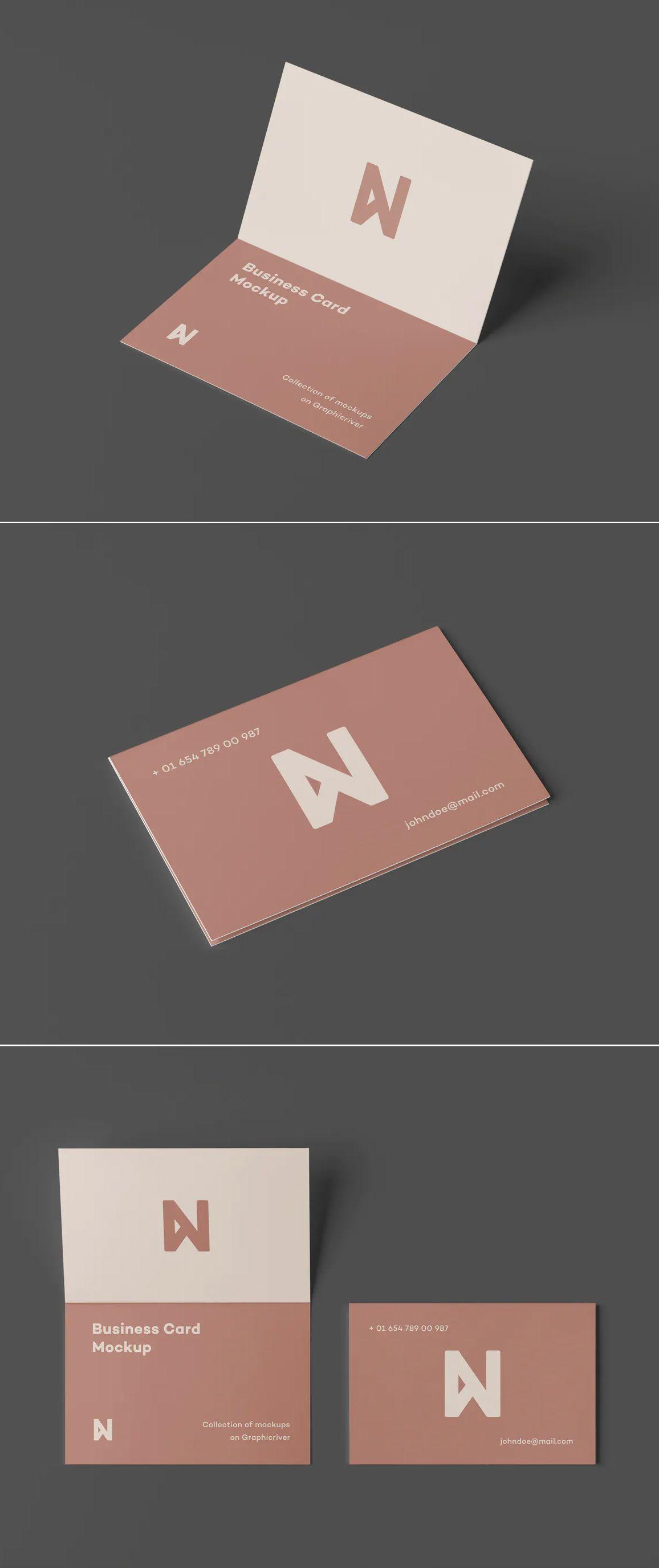 9 Bi Fold Business Card Mock Up Folded Business Cards Business Card Mock Up Printing Labels