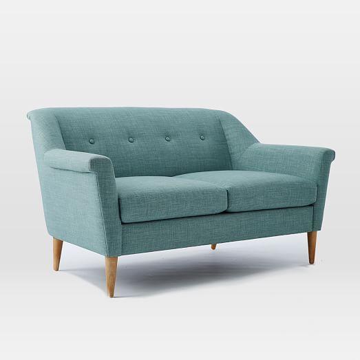 west elm finn loveseat 60 5 living room accent chairs for rh pinterest com