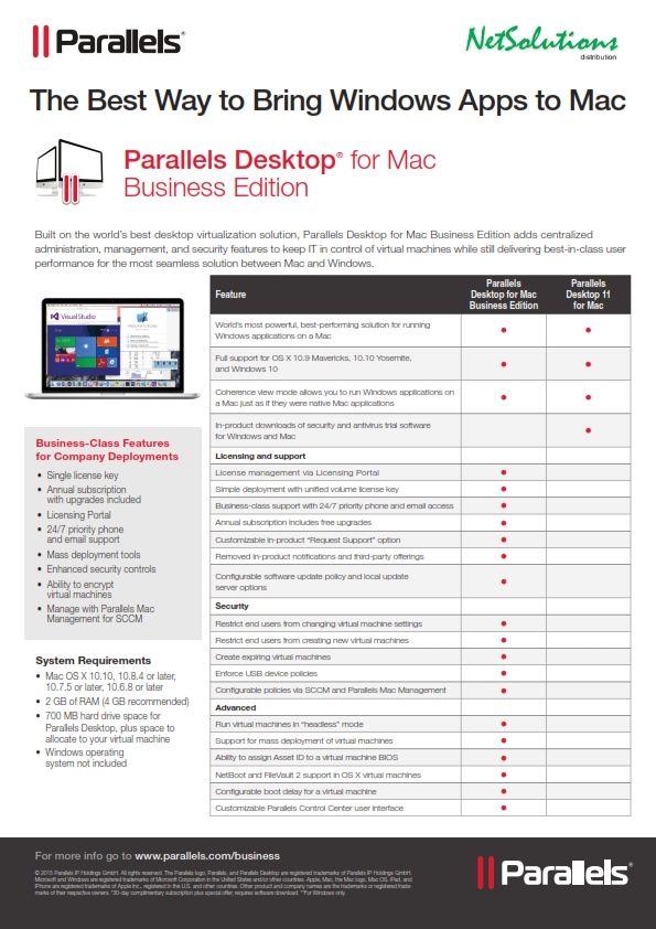 PT  #Netsolutions Infonet #Parallels Desktop® for Mac Business