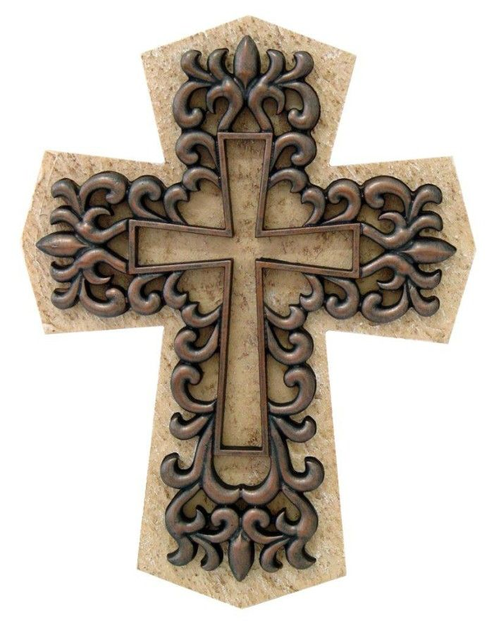Cross in cross christianity wall plaque décor statue.stone like home ...