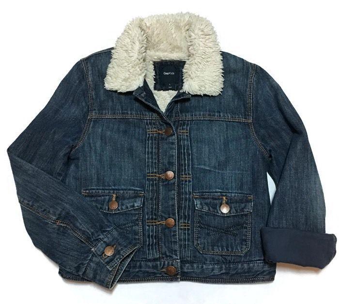 b36f204786a7 GAP Kids Denim Jacket Sherpa Lined Large Jean Tucks Girls