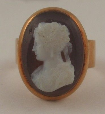 Vintage Cameo High Relief 14k Gold Cocktail Ring