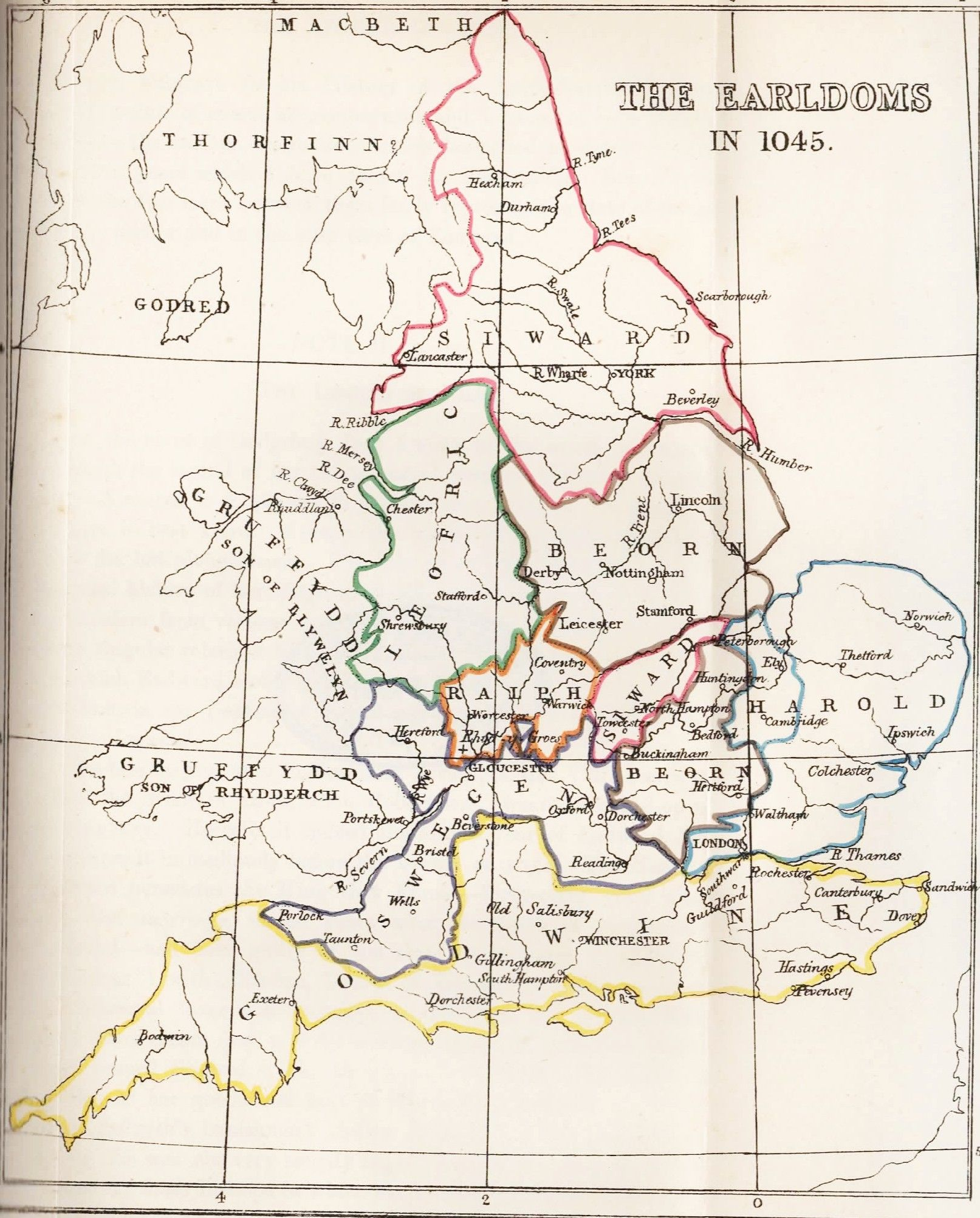 English Earldoms Of 1045 England Map
