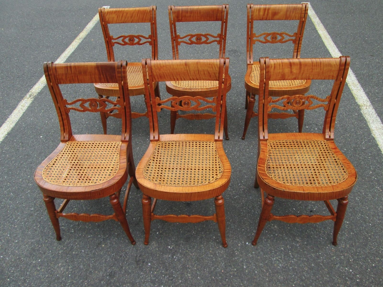 Set of 6 Spectacular Antique Tiger Maple Chairs Attributed to C H