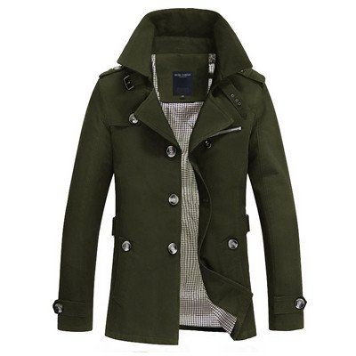 Men's Sleek Fashion Slim Fit Lightweight NEW 2016 Trench-Style Jacket 5 Colors M-5XL