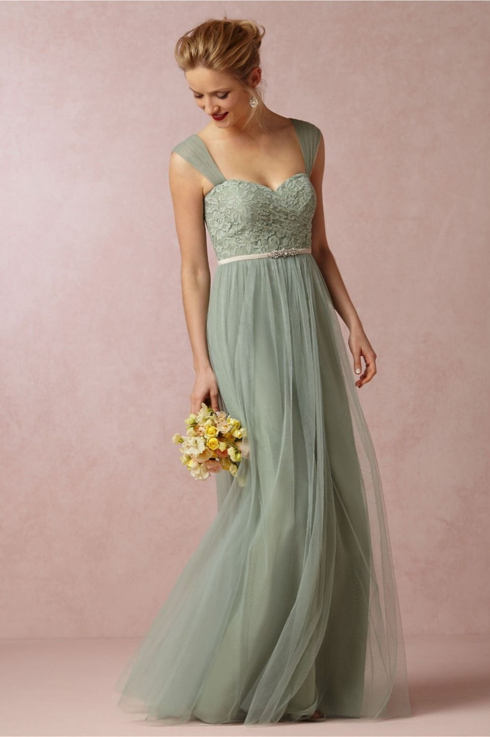 Elegant Long Bridesmaid Dresses For Wedding Mint Green