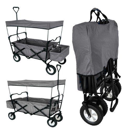 Gray Collapsible Garden Utility Travel Outdoor Cart Grey Folding