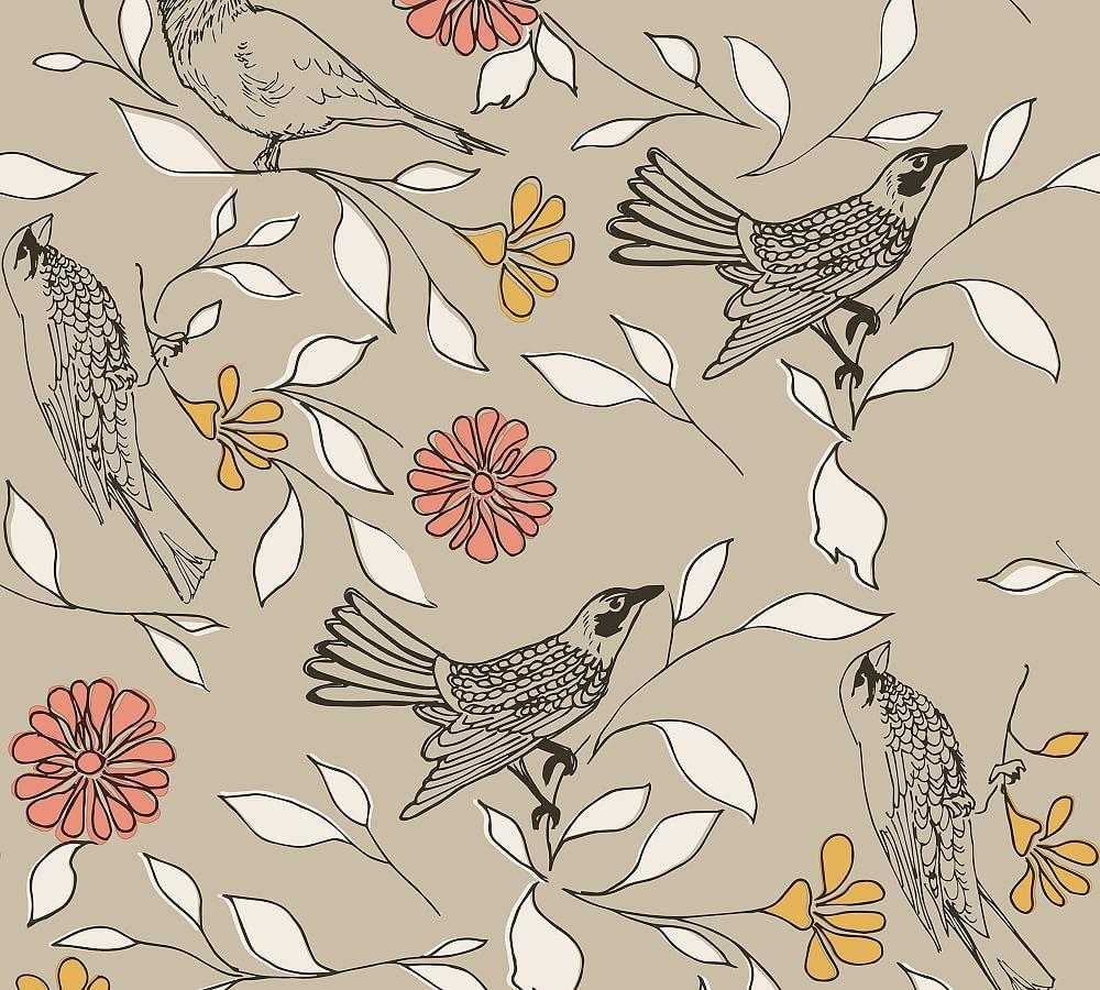 Birds Greige Removable Wallpaper In 2021 Bird Wallpaper Peelable Wallpaper Removable Wallpaper
