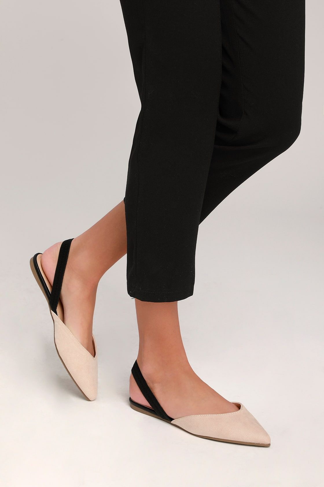 883bf02bc06 Lulus | Mae Nude and Black Suede Pointed-Toe Slingback Flats | Size ...