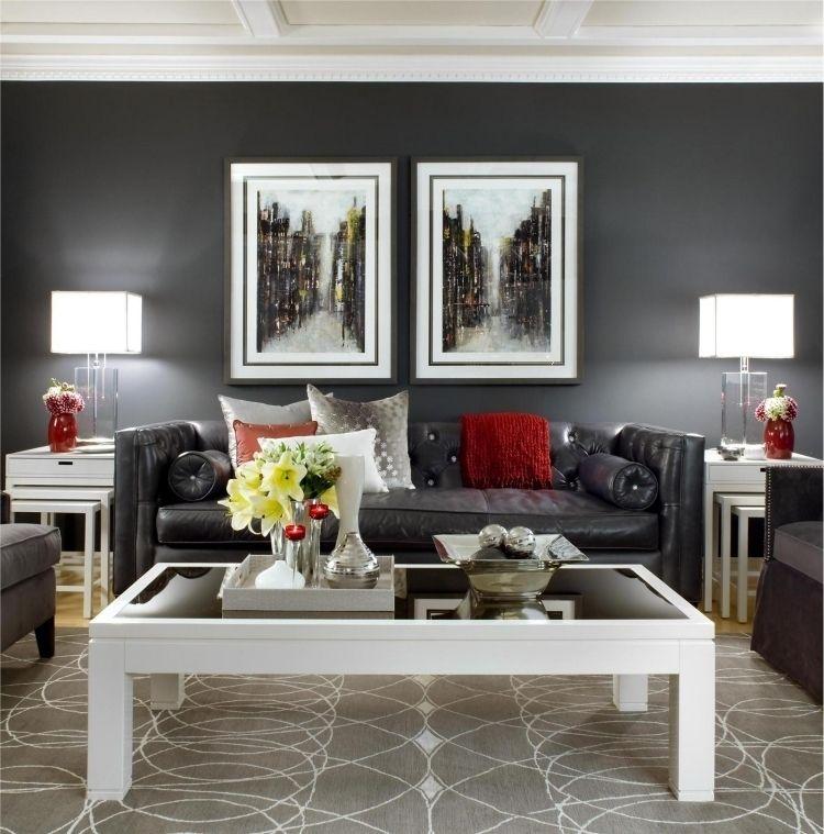 Feng Shui Wohnzimmer einrichten -schwarz-bilder-teppich-kissen ...