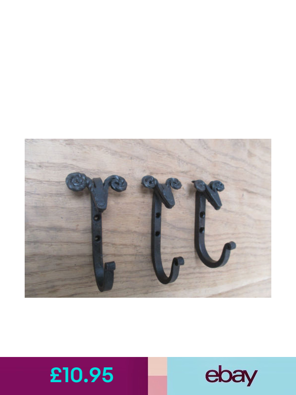 3 X HAND FORGED WROUGHT IRON SHEEP HEAD HANGING HOOK HANGER PEG