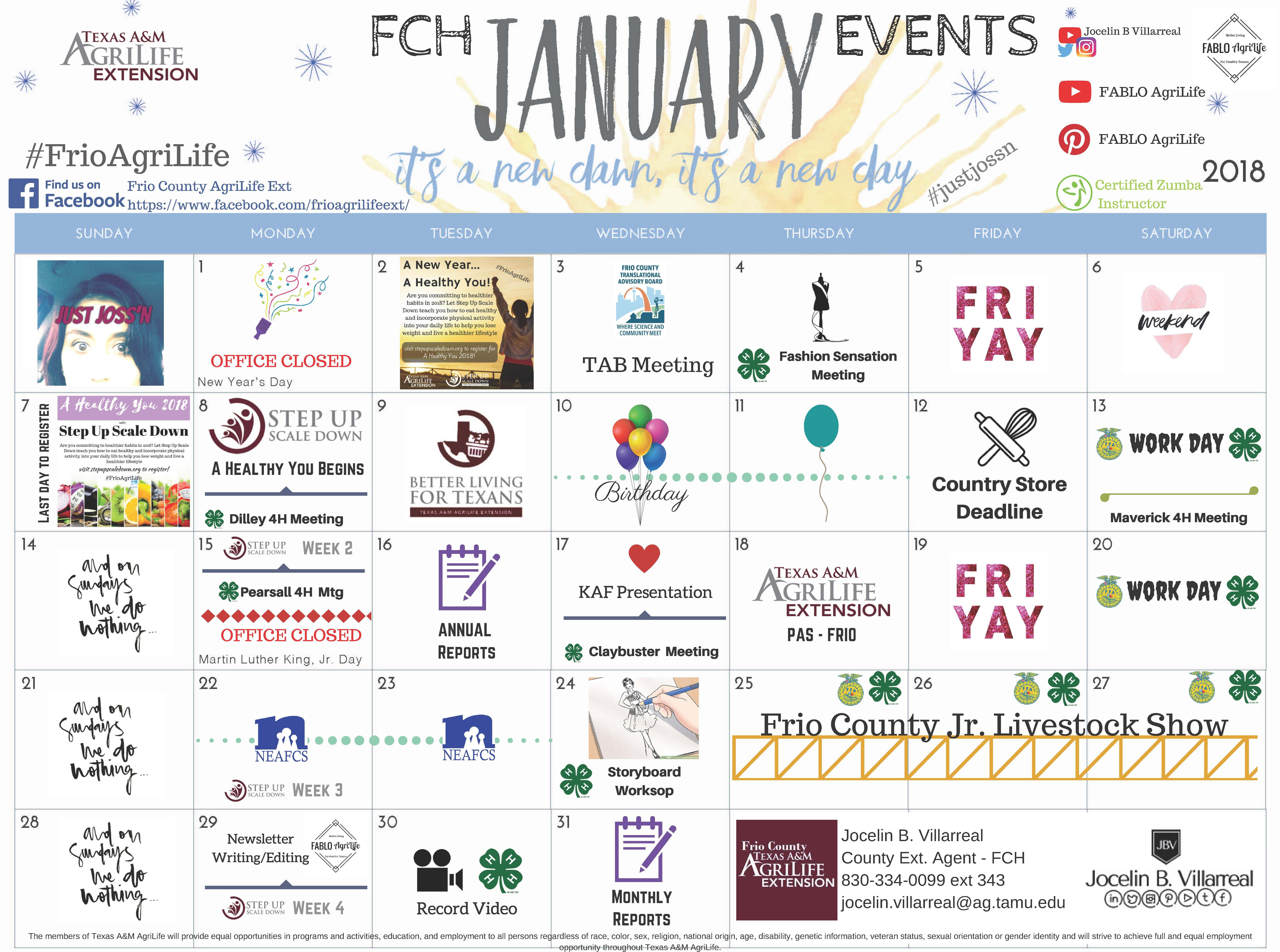 Fch Events For The Month Of January Visit Https Frio Agrilife