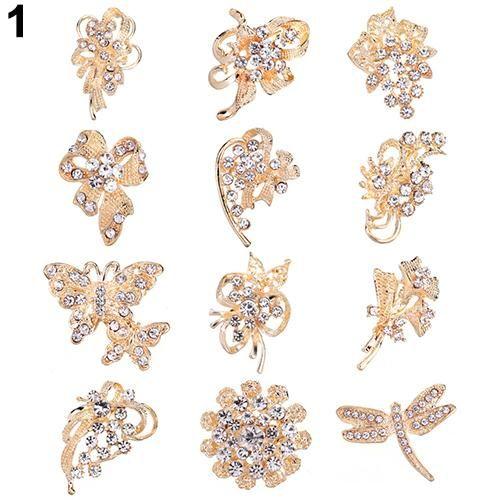 Photo of 12Pcs Women's Rhinestone Hollow Flower Butterfly Bridal Scarf Lapel Brooch Pins – Gold