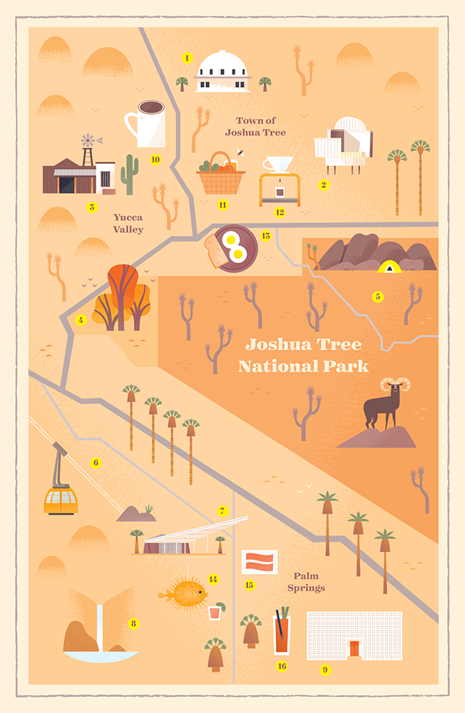 illustrated map of the high desert and palm springs art rh pinterest com