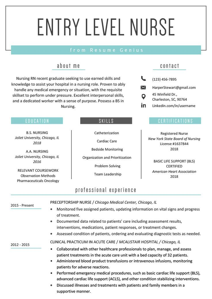 EntryLevel Nurse Resume Sample Resume Genius in 2020