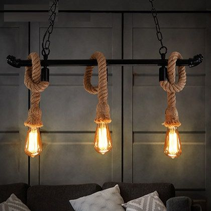Edison Loft Stijl Vintage Hanger Verlichting Rh Industriele Henneptouw Waterleiding Opknoping Lamp Armatuur Lamparas Colgantes In Buislamp Hanglamp Verlichting