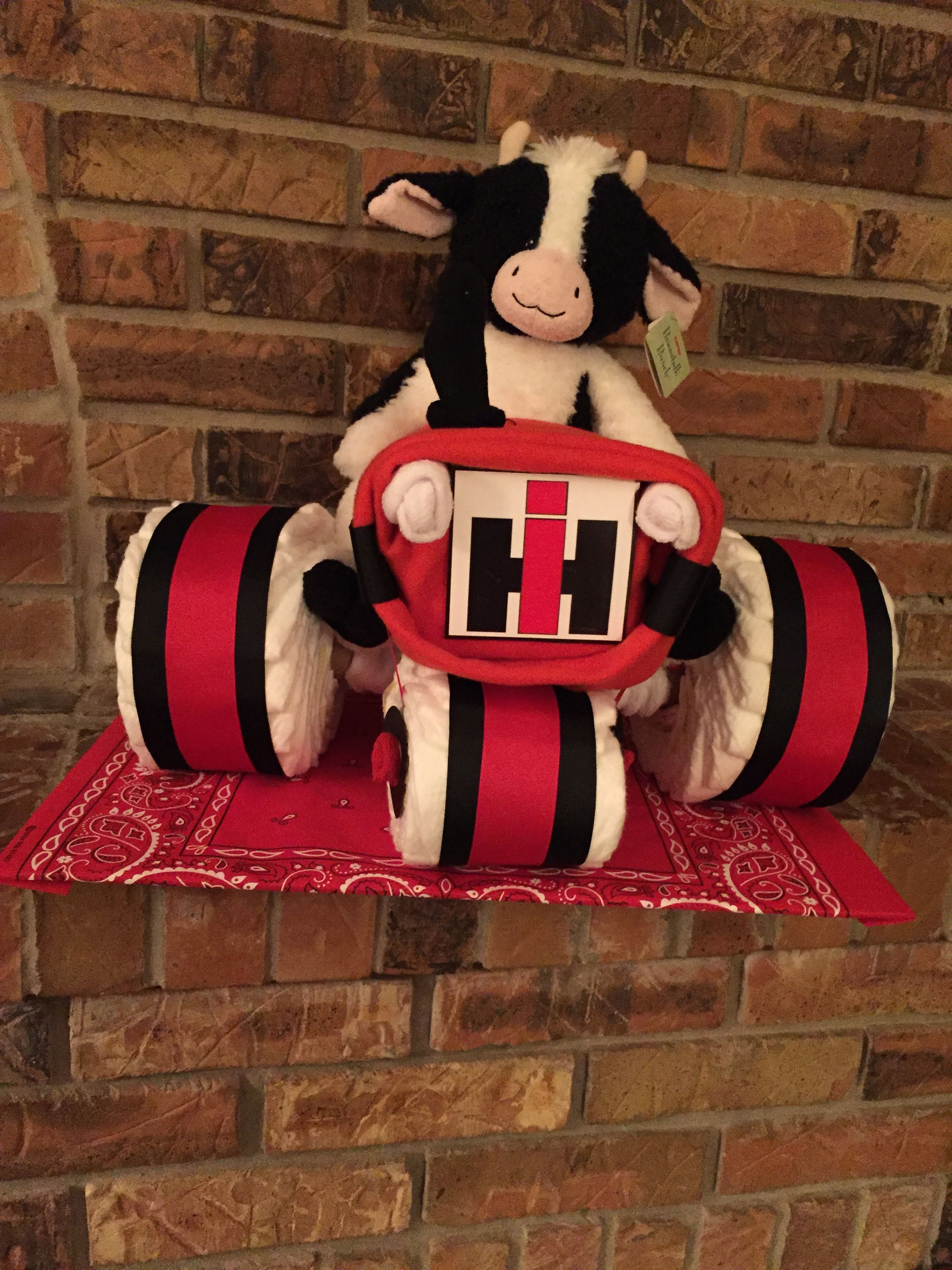 Red Bandana Bathroom Decor: Diaper IH Tractor Diaper Cake. 40 Pampers Swaddlers Size 2
