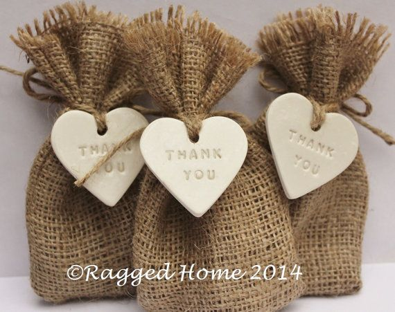 10 X Hessian Bags Thank You Love Heart Tags For Wedding Favours