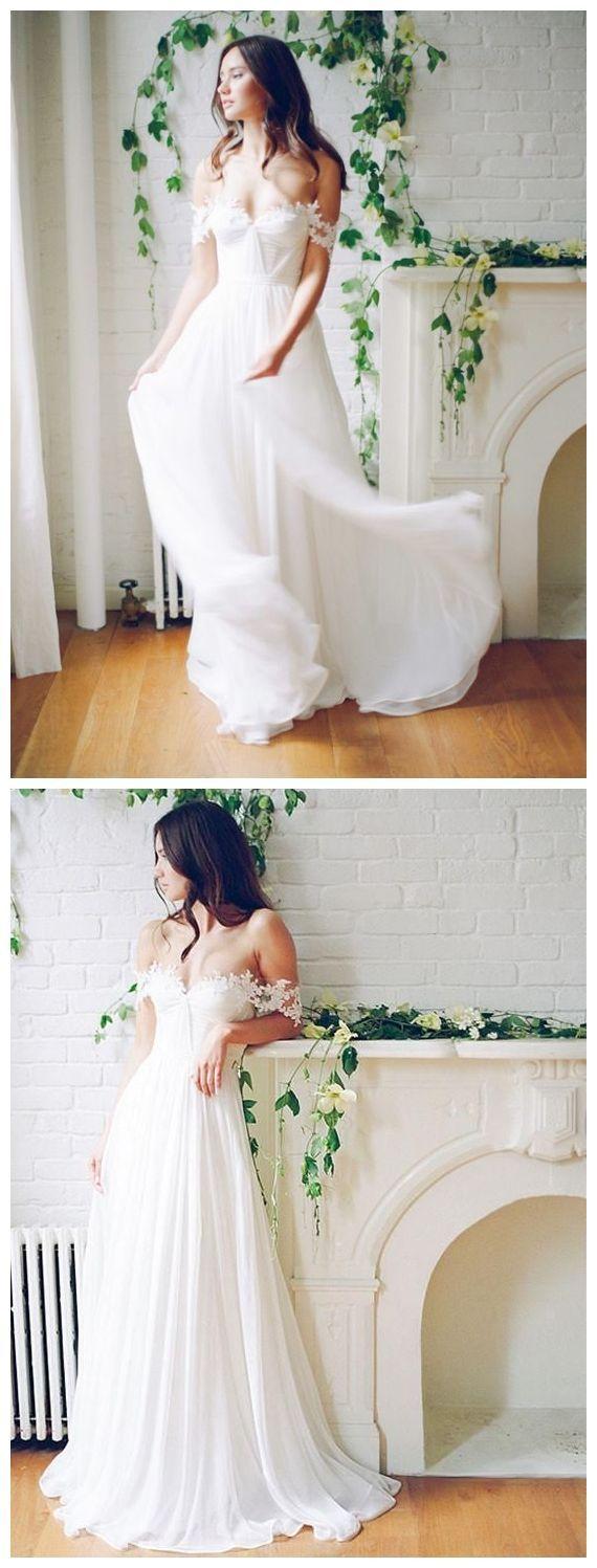 Simple off the shoulder wedding dresses  Off the Shoulder White Wedding Dresses Long Simple Beach Wedding