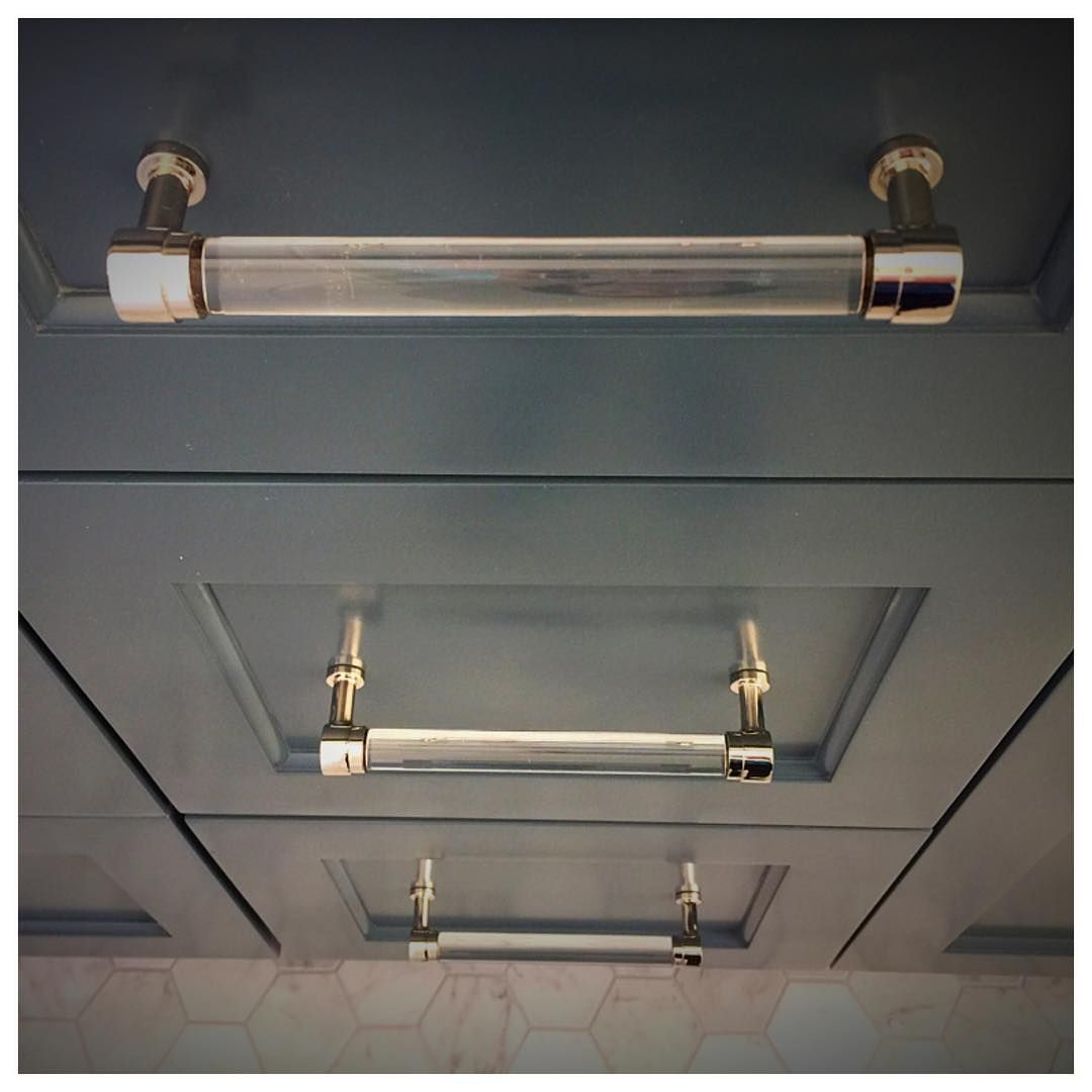RH Cabinet Pulls In Polished Nickel And Lucite. Love The