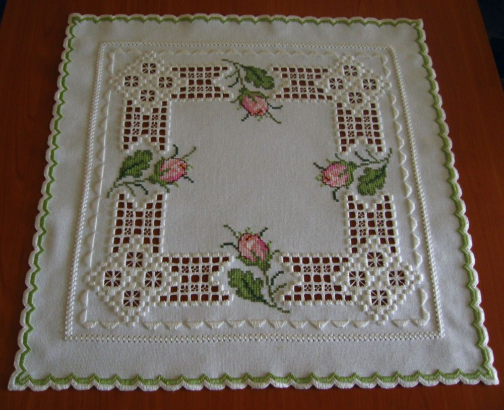 Beautiful hardanger embroidered tablecloth rose buds