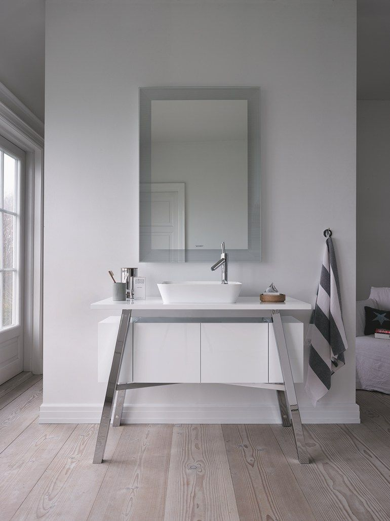 Wall Mounted Bathroom Mirror With Integrated Lighting CAPE COD | Mirror    DURAVIT