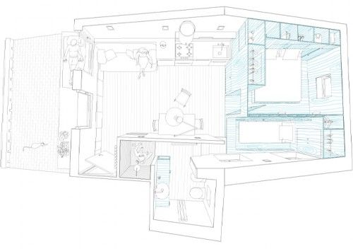 plan du0027appartement de 35m² minuscule chaussée idée de surface mini - idee de plan de maison