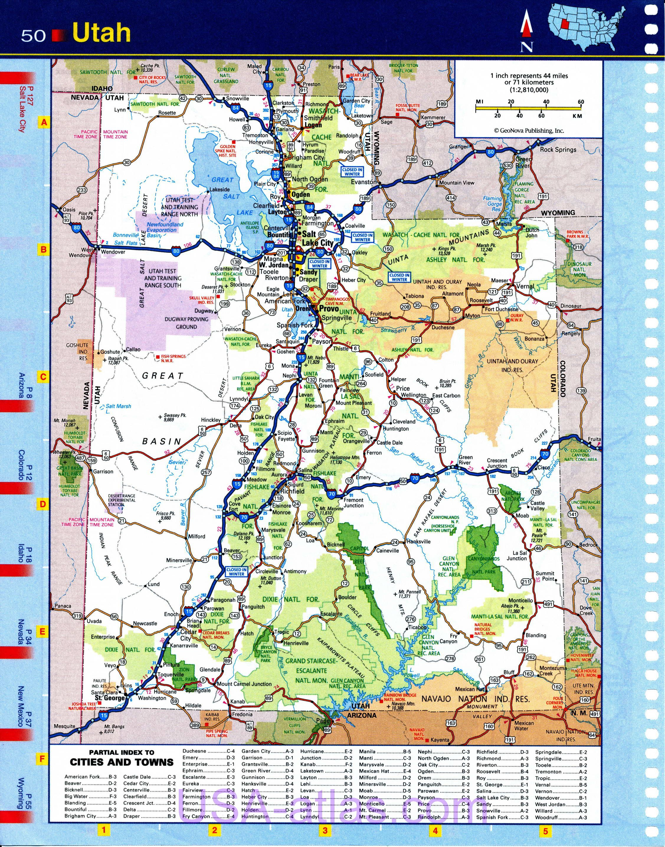 Map of Utah. Detailed road map of the state of Utah. Quality scanned ...