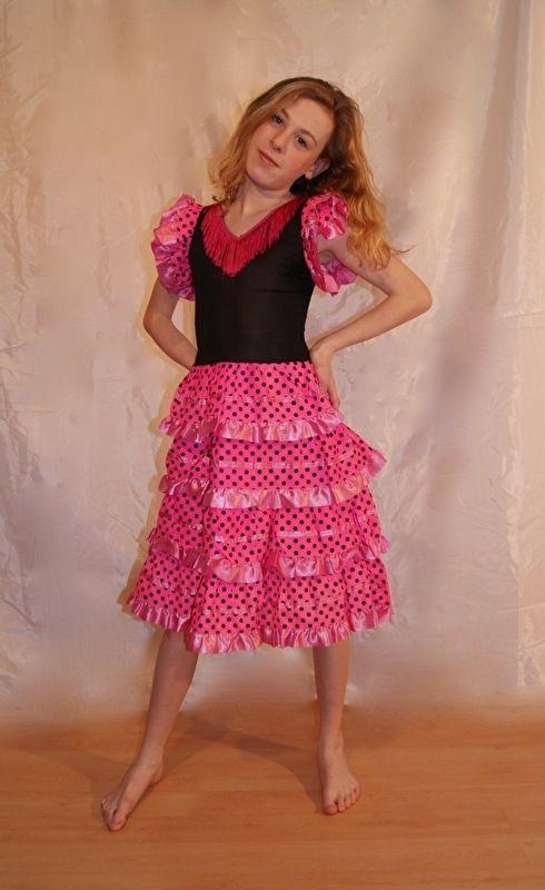 Spaanse flamenco jurk voor meisjes ROZE ROSE - prinsessenjurk - Spanish flamenco dress girls PINK