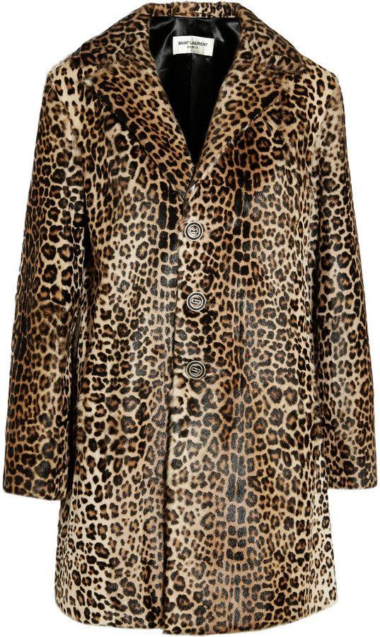 df97e3d41760 Saint Laurent Leopard-Print Goat Hair Coat