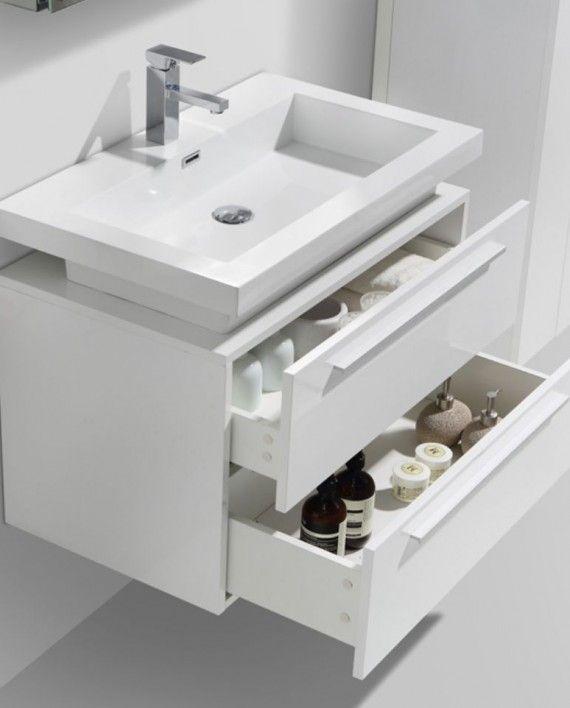 32 Quot Tona High Gloss White Wall Mount Modern Bathroom Vanity Modern Bathroom Vanity Modern Bathroom High Gloss White