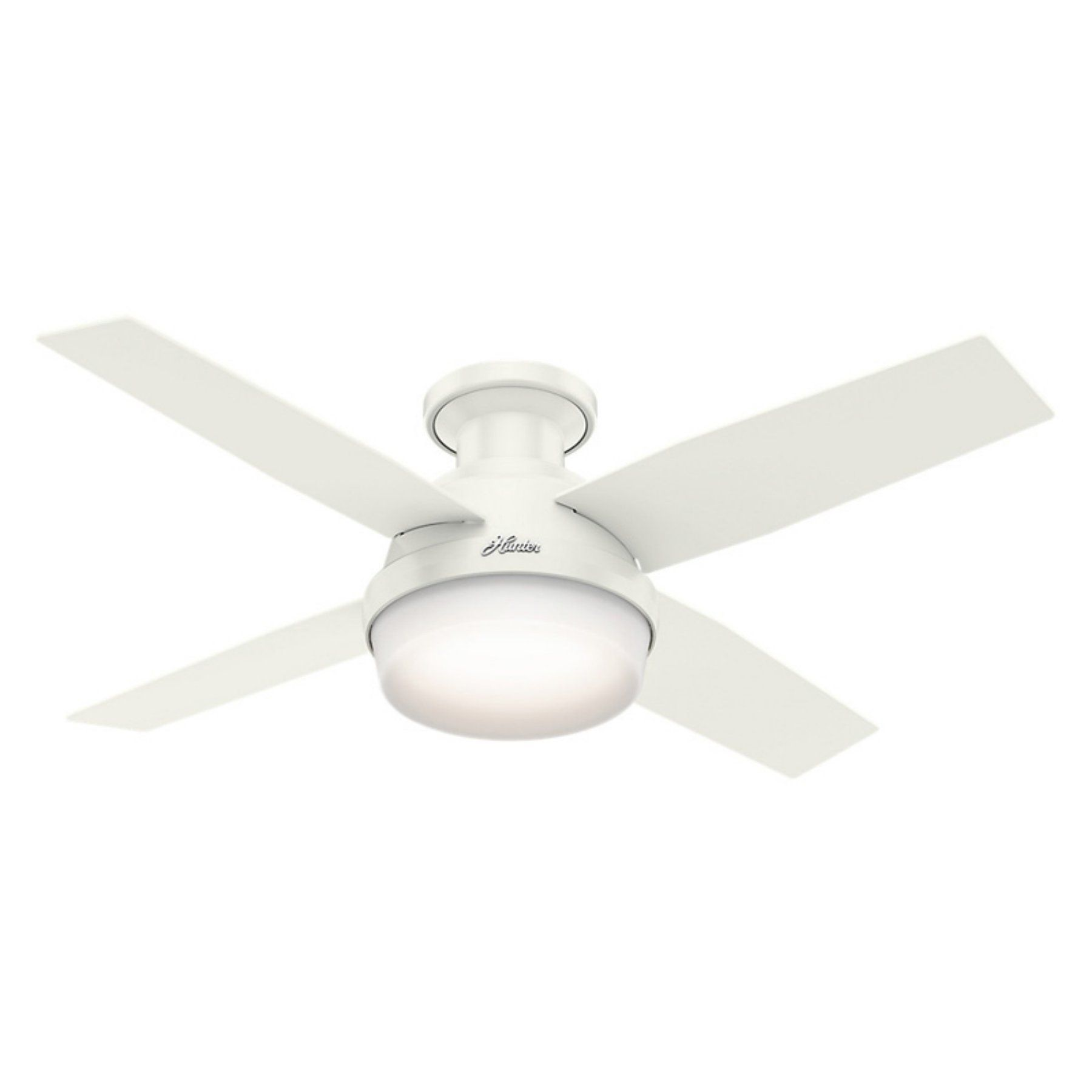 Hunter dempsey in low profile indoor ceiling fan with light and