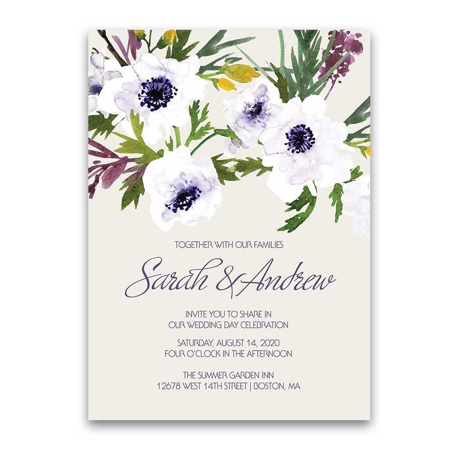 Purple Floral Wedding Invitation Personalized Watercolor Greenery ...