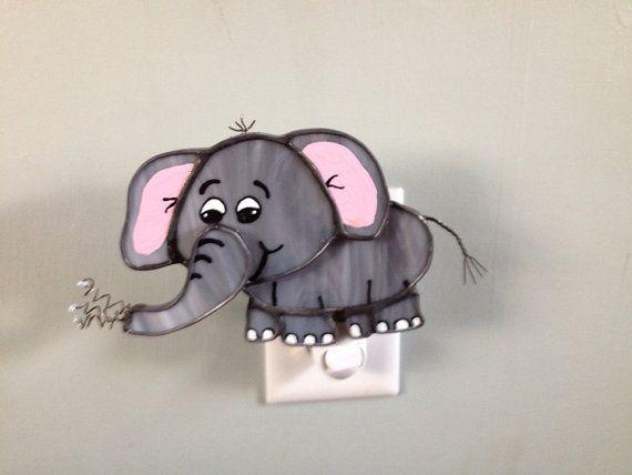 Nursery Room Elephant Night Light Stained Gl