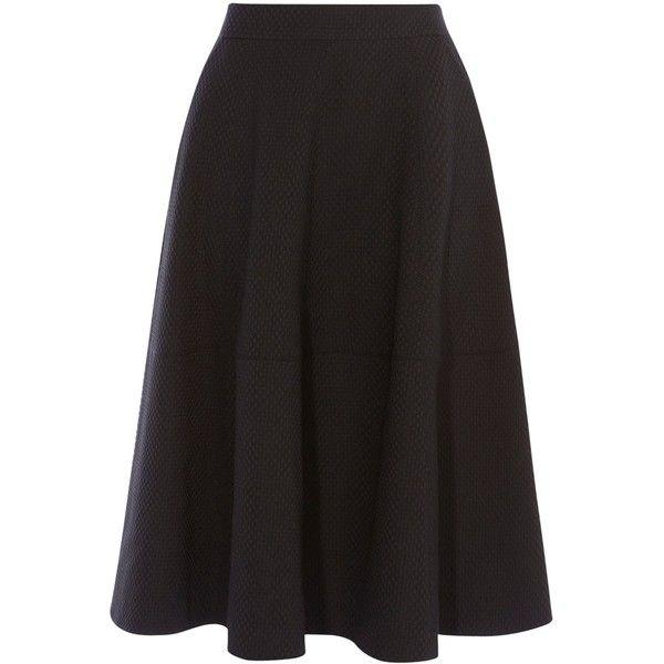 Karen Millen Zip Detail Tailored Skirt, Black (6.940 RUB) ❤ liked on Polyvore featuring skirts, circle skirts, full skirts, patterned skater skirt, flared skater skirt and patterned skirts