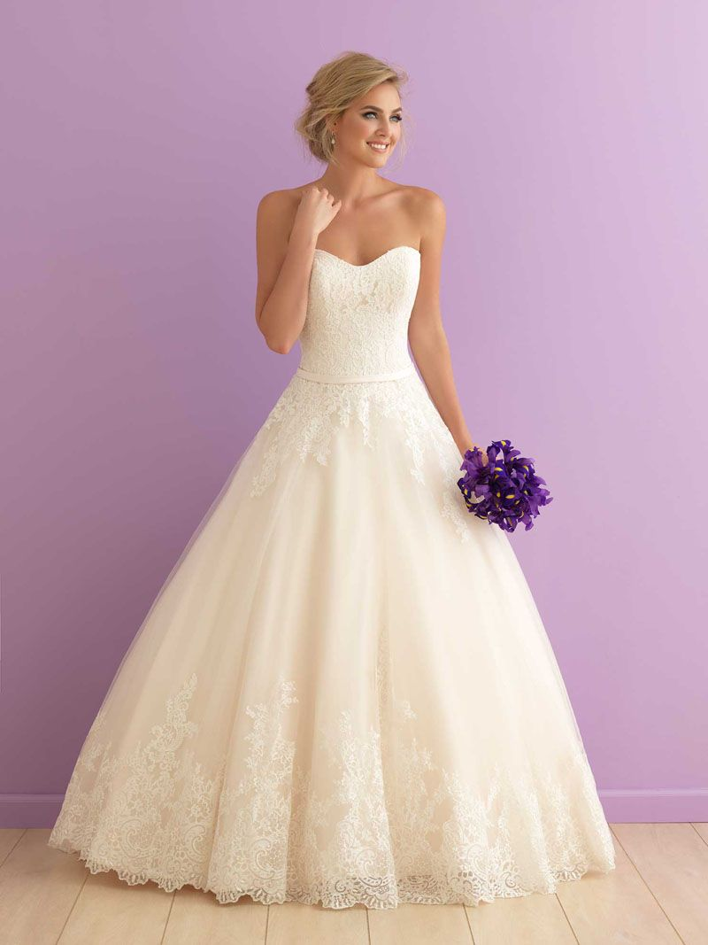 Classic strapless sweetheart floor length ball gown lace wedding