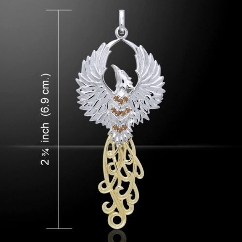 Phoenix rising pendant in 925 sterling silver with 18k gold phoenix rising pendant in 925 sterling silver with 18k gold accents and brown swarovski cystals solar fire bird mozeypictures Gallery
