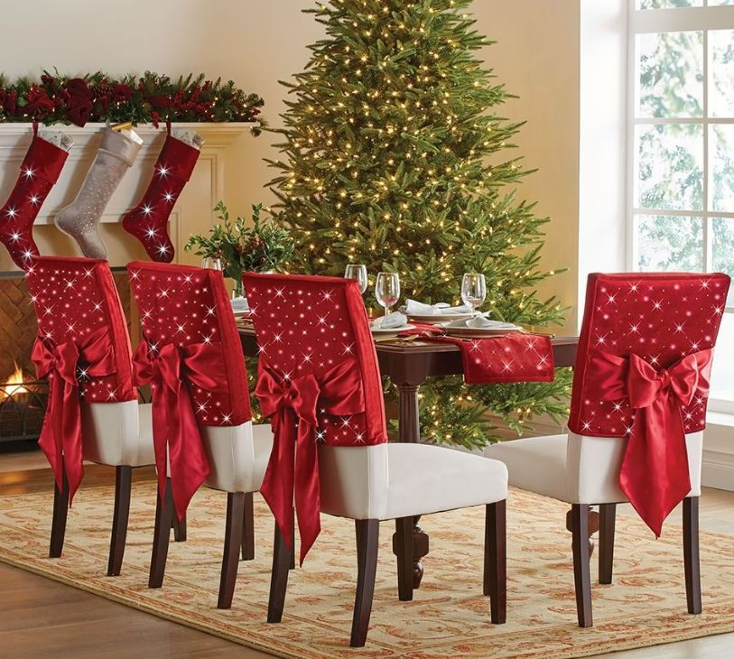 Christmas Chair Back Covers.The Cordless Twinkling Chair Back Sleeves Christmas