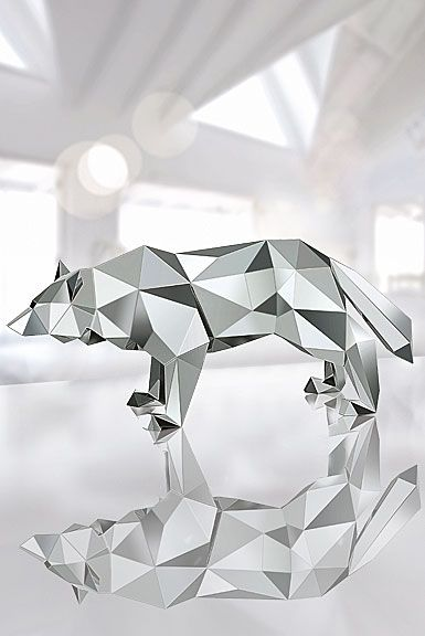 Mirrored Wolf Sculpture By Arran Gregory
