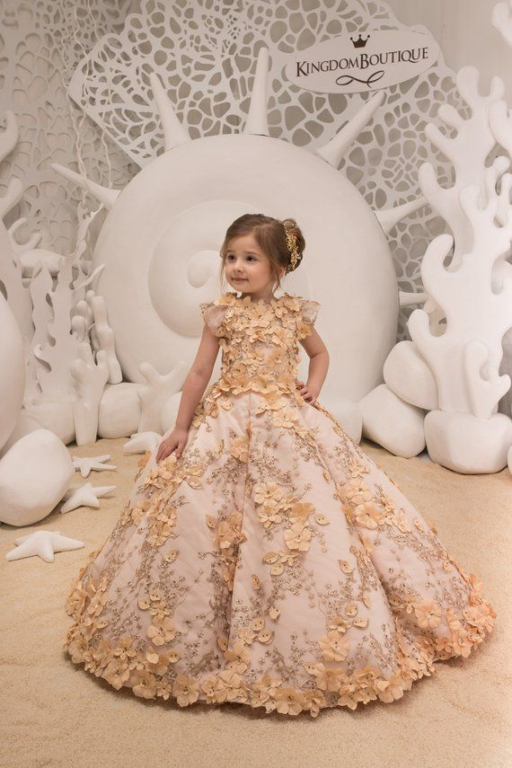 0d7c0c2063d7 Lace Ivory and Beige Flower Girl Dress - Birthday Bridesmaid Wedding ...