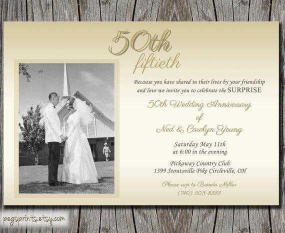 Wedding Anniversary Invitation Message: Surprise Wedding Anniversary Invitation 50th By Pegsprints