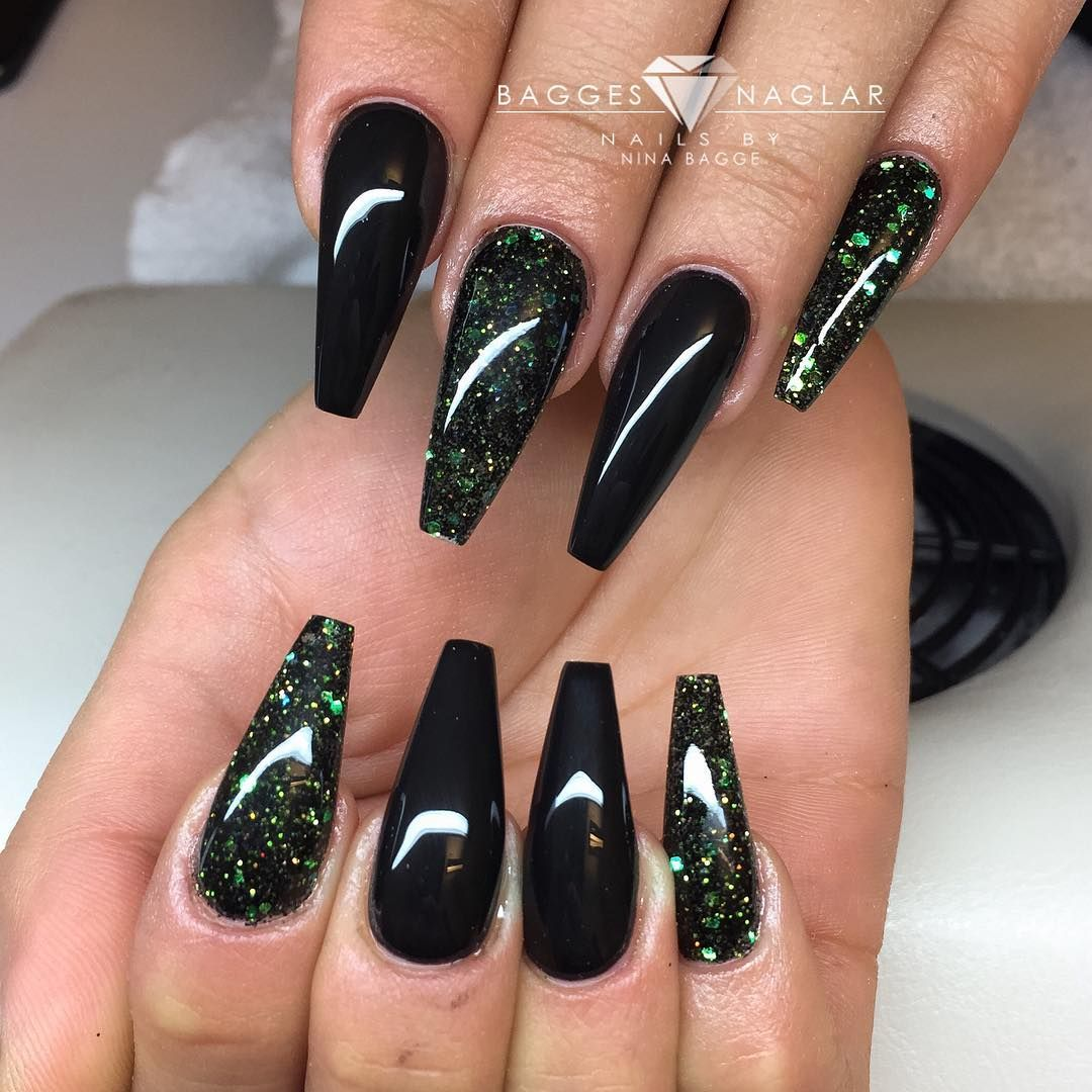 Instagram Photo By Gothenburg Baggesnaglar Black Nails With Glitter Black Chrome Nails Acrylic Nails Coffin Glitter