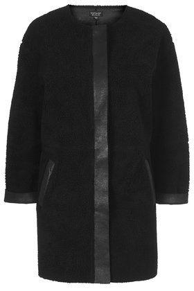 Faux shearling ovoid jacket black