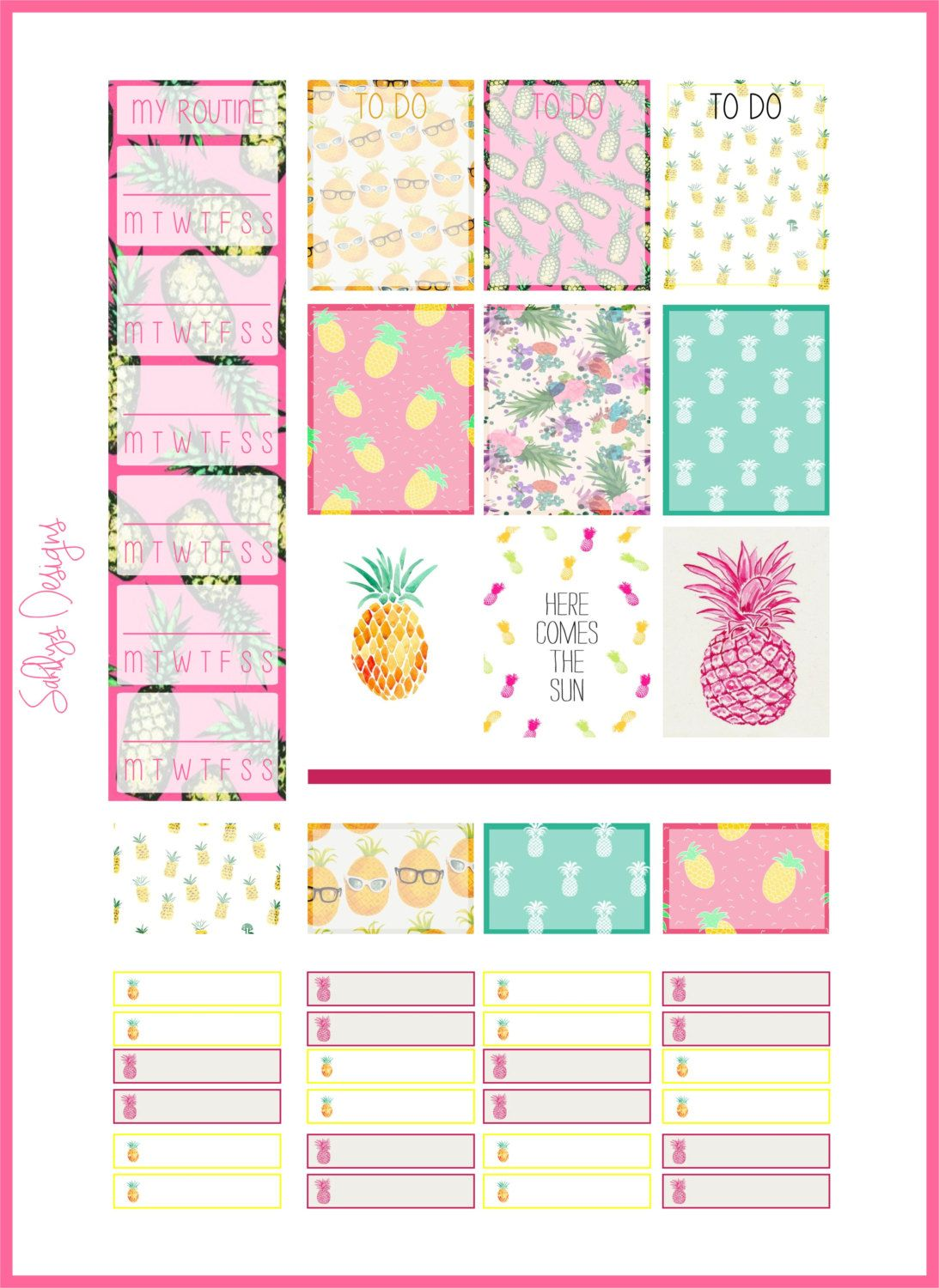 Pineapple Stickers set ( Week) by SahilysDesigns on Etsy
