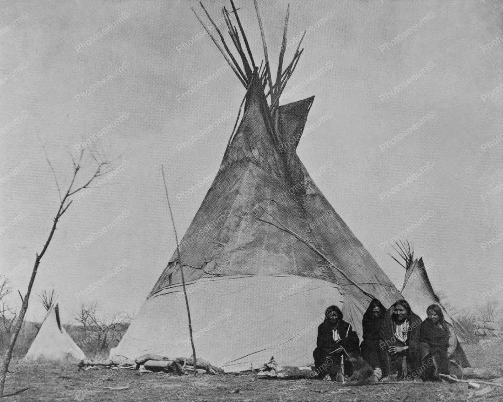 Comanche Indians Pose In Front of Tepee 8x10 Reprint Of Old Photo ...