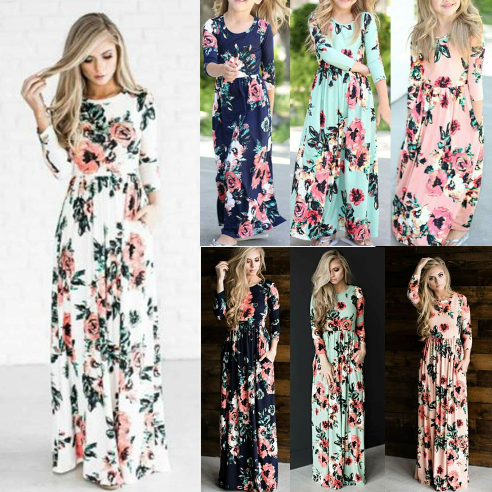 69b9cd61fc US Mommy and Me Family Matching Dress Mother Daughter Floral Holiday Maxi  Dress - Mother Daughter