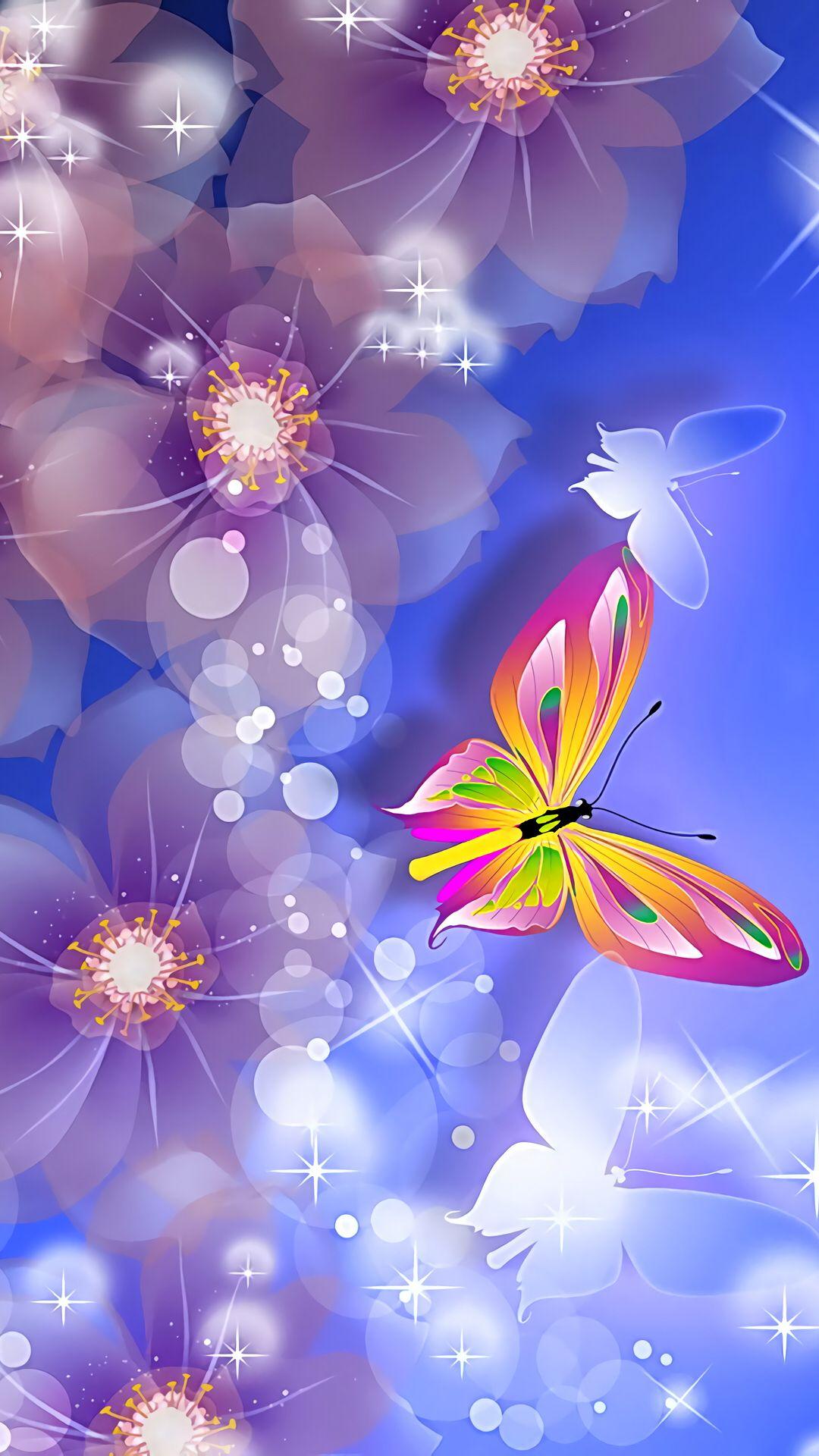 Floral Glow Flower iphone wallpaper, Butterfly wallpaper