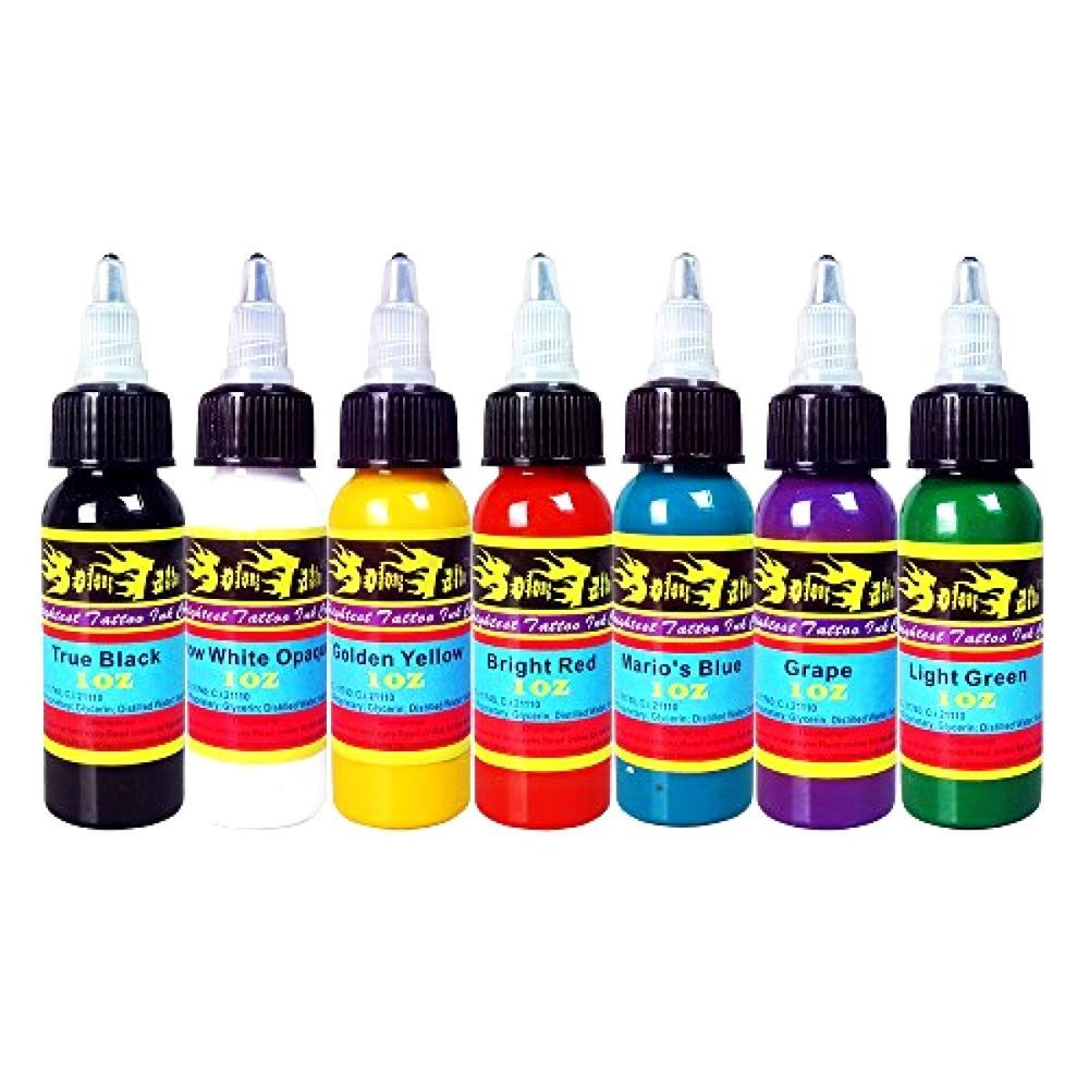 Solong Tattoo® 7 Basic Colors Tattoo Ink Set Pigment Kit