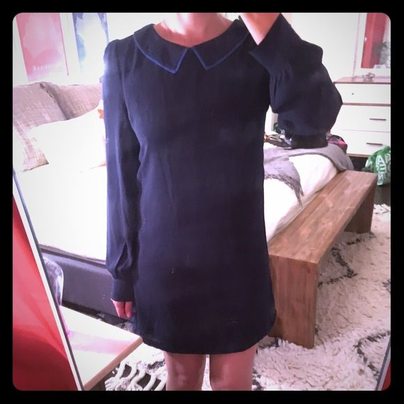 Adorable navy blue cocktail dress by Tinley Road Navy blue dress with long sleeves and Peter Pan collar from Tinley Road. Note: size marked is Small but I had this taken in and the hem taken up a bit so it fits more like an XS. Tinley Road Dresses Mini
