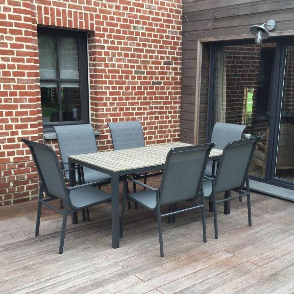 Salon de jardin en aluminium, bois et textilène, table + 6 chaises ...